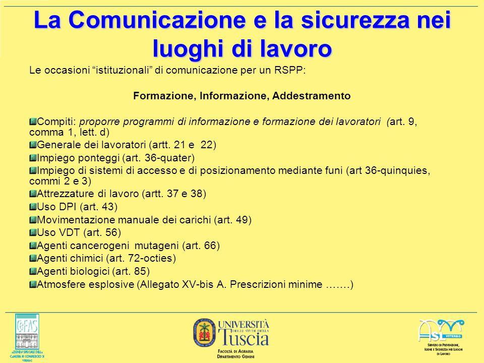 LA COMUNICAZIONE PER LA SICUREZZA A cura di: Giovanni Iapichino 23 novembre 2006 ai sensi del D.Lgs. 626/94 e dellAccordo tra Stato e Regioni ai fini