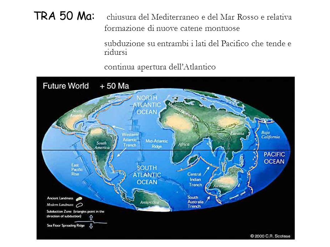 TRA 50 Ma: chiusura del Mediterraneo e del Mar Rosso e relativa formazione di nuove catene montuose subduzione su entrambi i lati del Pacifico che ten