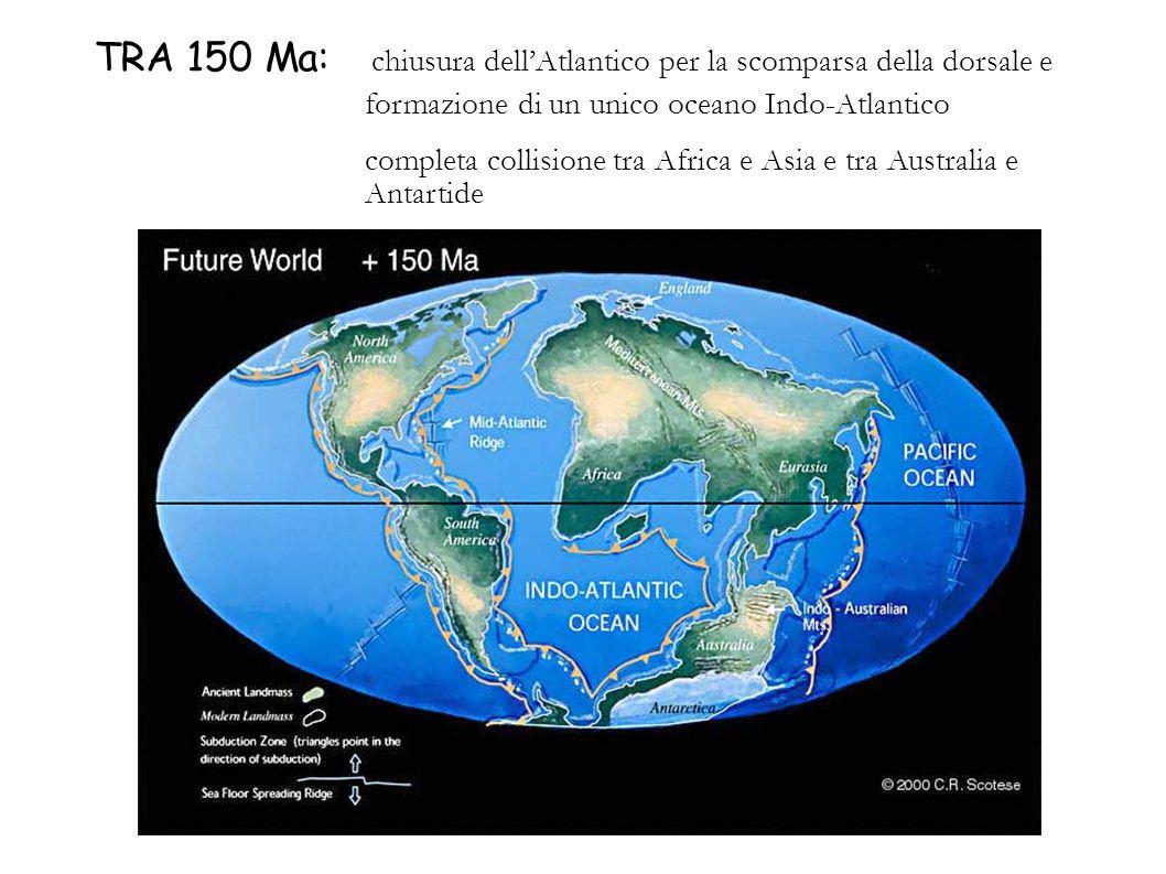 TRA 150 Ma: chiusura dellAtlantico per la scomparsa della dorsale e formazione di un unico oceano Indo-Atlantico completa collisione tra Africa e Asia