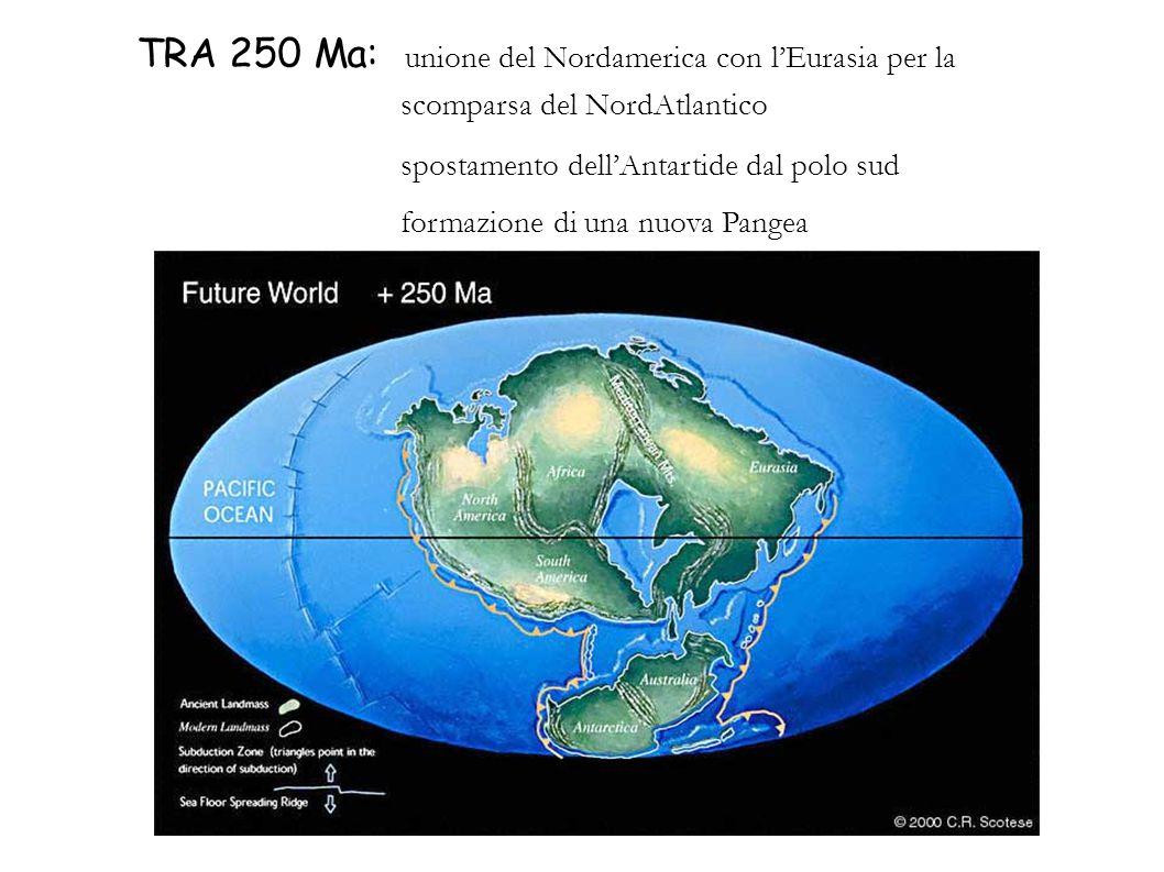 TRA 250 Ma: unione del Nordamerica con lEurasia per la scomparsa del NordAtlantico spostamento dellAntartide dal polo sud formazione di una nuova Pang