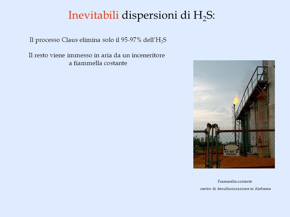 Inevitabili dispersioni di H 2 S: Il processo Claus elimina solo il 95-97% dellH 2 S Il resto viene immesso in aria da un inceneritore a fiammella costante Fiammella costante centro di desulfurizzazione in Alabama