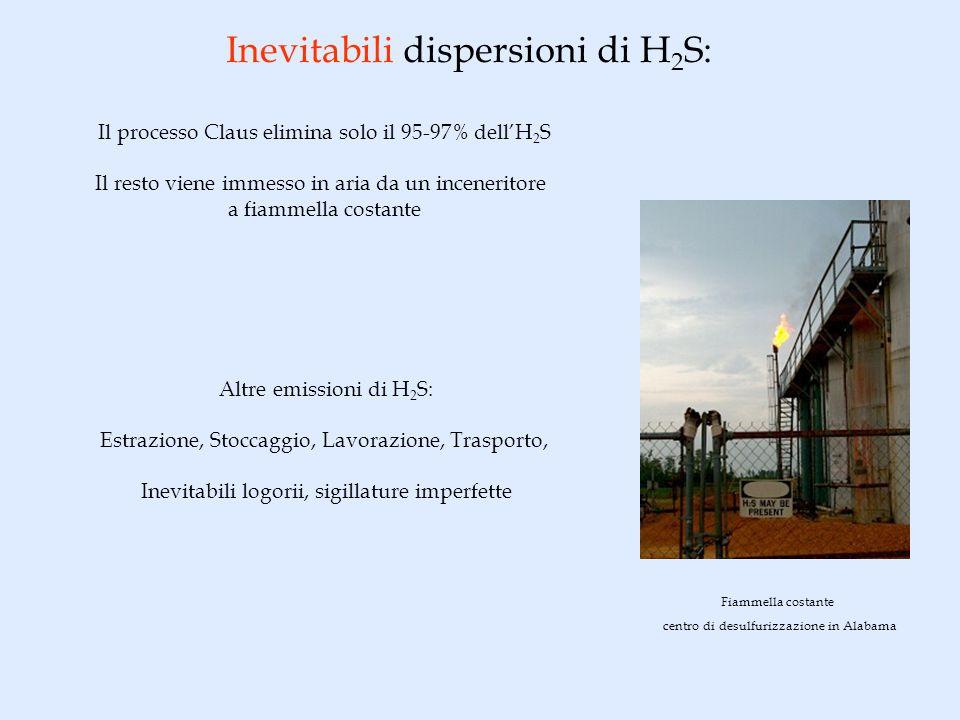 Inevitabili dispersioni di H 2 S: Altre emissioni di H 2 S: Estrazione, Stoccaggio, Lavorazione, Trasporto, Inevitabili logorii, sigillature imperfett