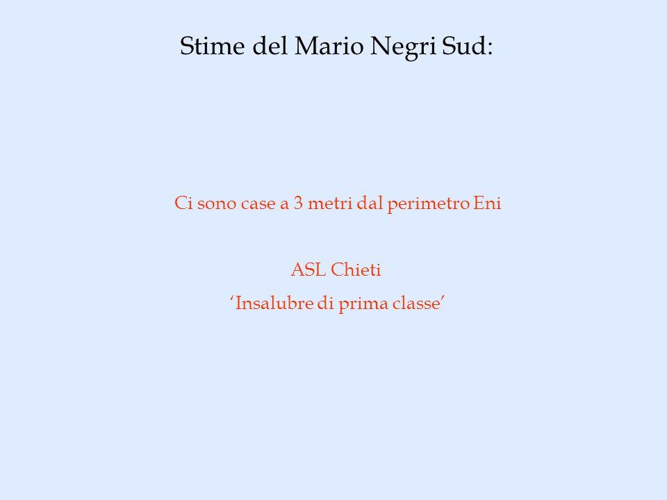 Stime del Mario Negri Sud: Ci sono case a 3 metri dal perimetro Eni ASL Chieti Insalubre di prima classe