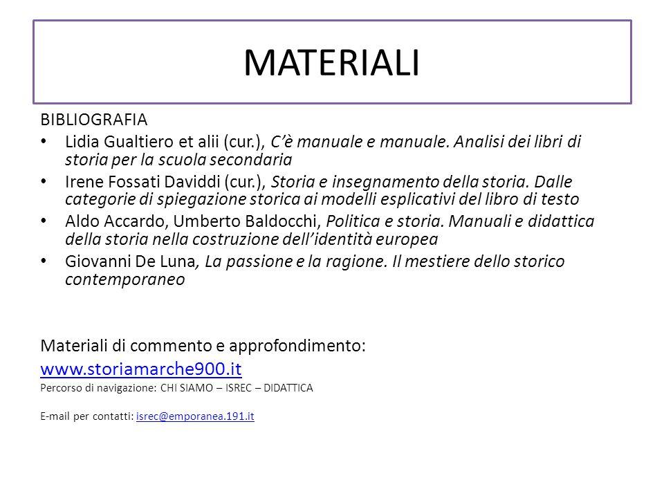 MATERIALI BIBLIOGRAFIA Lidia Gualtiero et alii (cur.), Cè manuale e manuale.