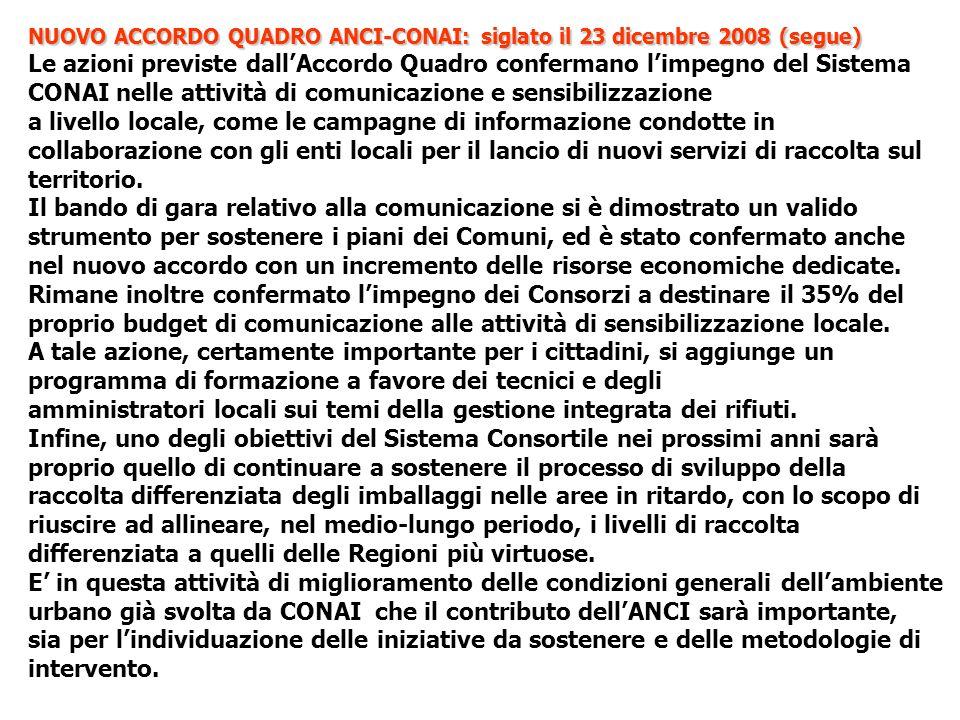 NUOVO ACCORDO QUADRO ANCI-CONAI: siglato il 23 dicembre 2008 (segue) Le azioni previste dallAccordo Quadro confermano limpegno del Sistema CONAI nelle