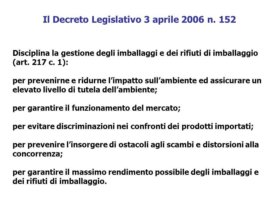 Il Decreto Legislativo 3 aprile 2006 n. 152 Disciplina la gestione degli imballaggi e dei rifiuti di imballaggio (art. 217 c. 1): per prevenirne e rid