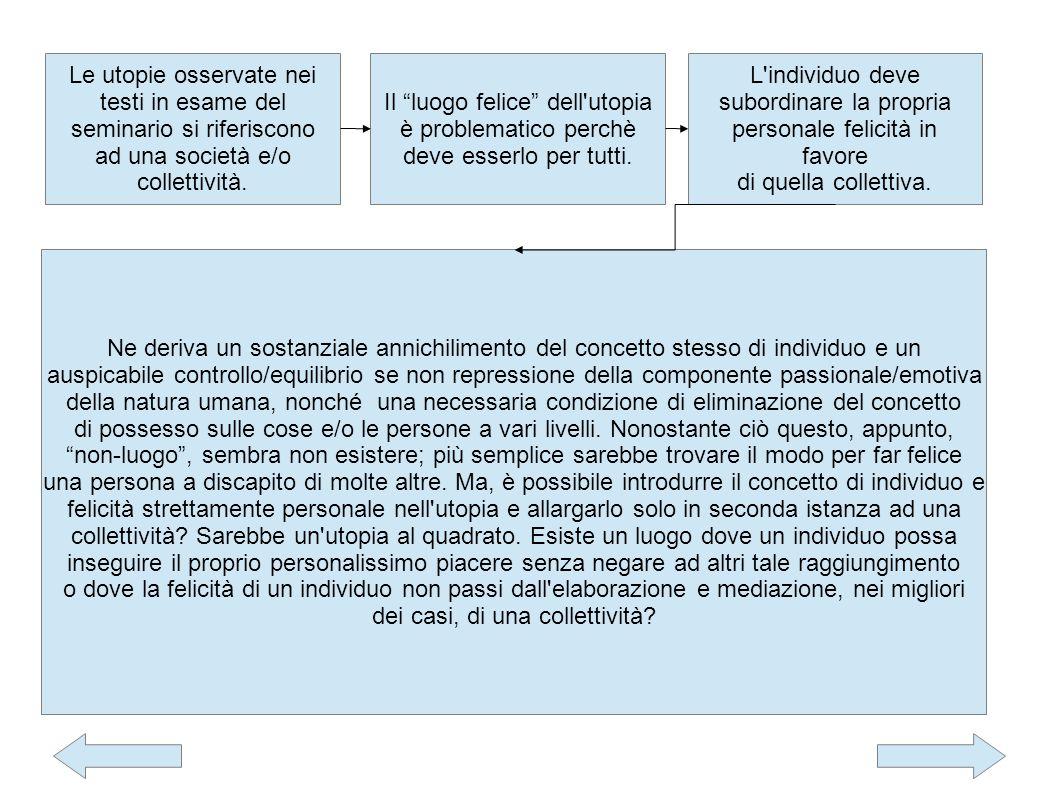 Le utopie osservate nei testi in esame del seminario si riferiscono ad una società e/o collettività.