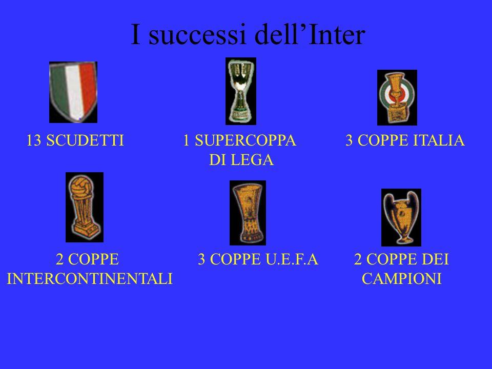 I successi dellInter 13 SCUDETTI1 SUPERCOPPA DI LEGA 3 COPPE ITALIA 2 COPPE INTERCONTINENTALI 3 COPPE U.E.F.A2 COPPE DEI CAMPIONI