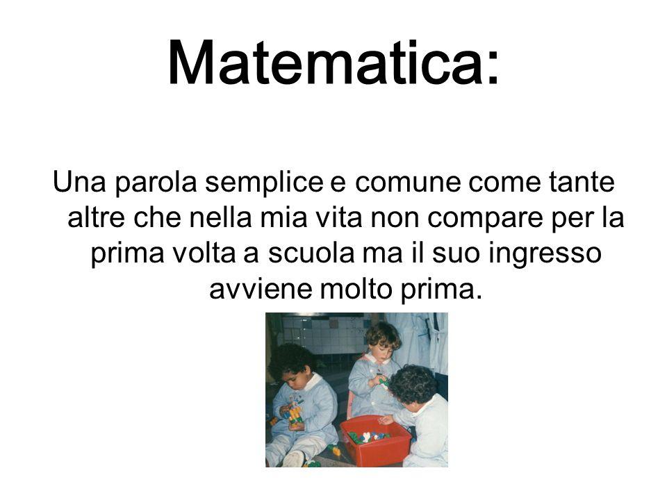 Matematica: Una parola semplice e comune come tante altre che nella mia vita non compare per la prima volta a scuola ma il suo ingresso avviene molto