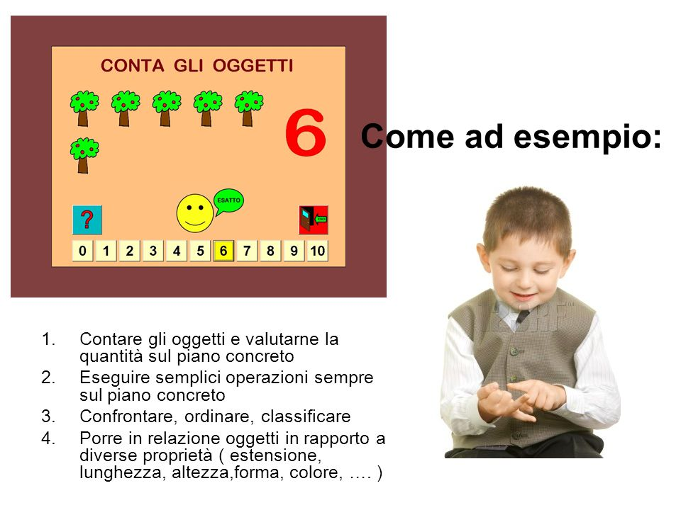 Come ad esempio: 1.Contare gli oggetti e valutarne la quantità sul piano concreto 2.Eseguire semplici operazioni sempre sul piano concreto 3.Confronta