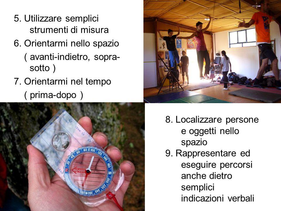 5. Utilizzare semplici strumenti di misura 6. Orientarmi nello spazio ( avanti-indietro, sopra- sotto ) 7. Orientarmi nel tempo ( prima-dopo ) 8. Loca