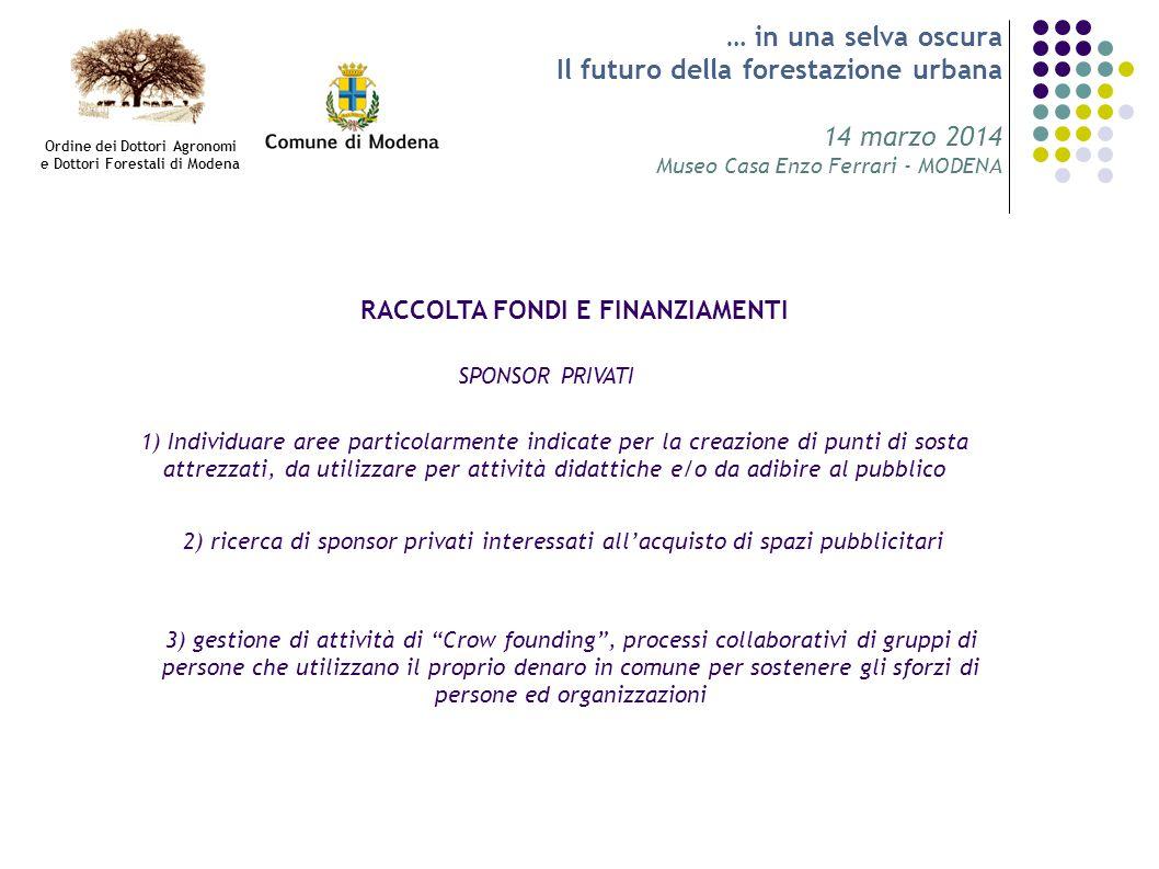… in una selva oscura Il futuro della forestazione urbana 14 marzo 2014 Museo Casa Enzo Ferrari - MODENA RACCOLTA FONDI E FINANZIAMENTI SPONSOR PRIVAT