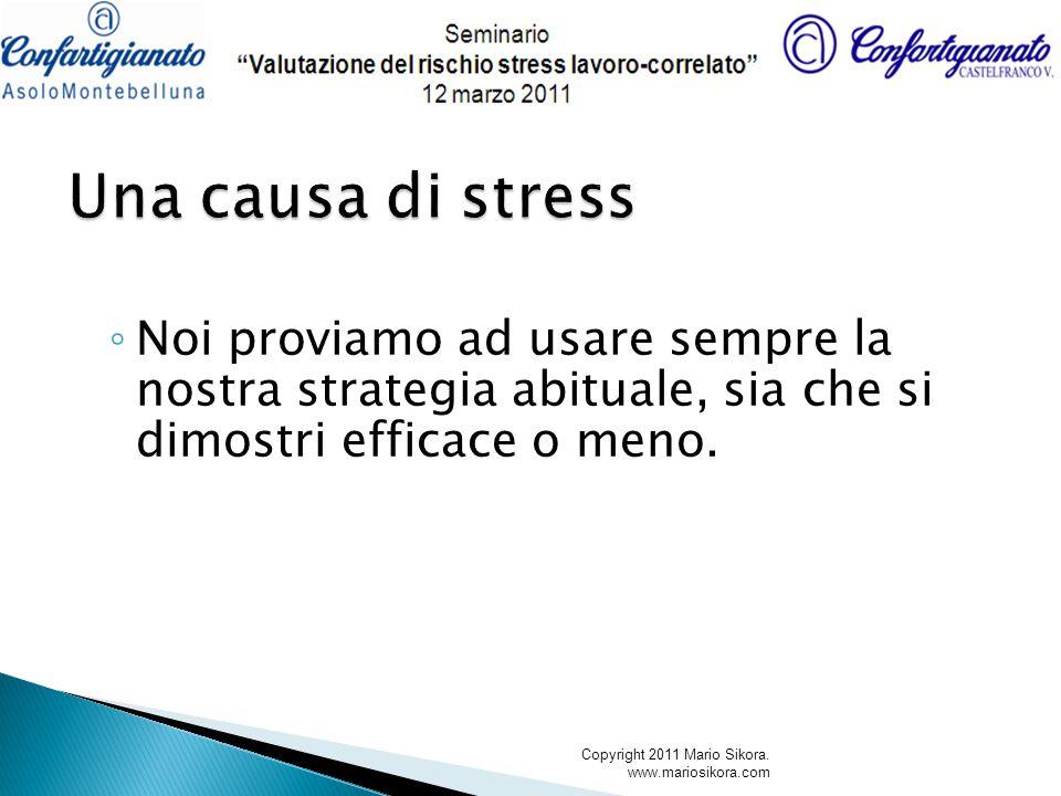 Noi proviamo ad usare sempre la nostra strategia abituale, sia che si dimostri efficace o meno. Copyright 2011 Mario Sikora. www.mariosikora.com