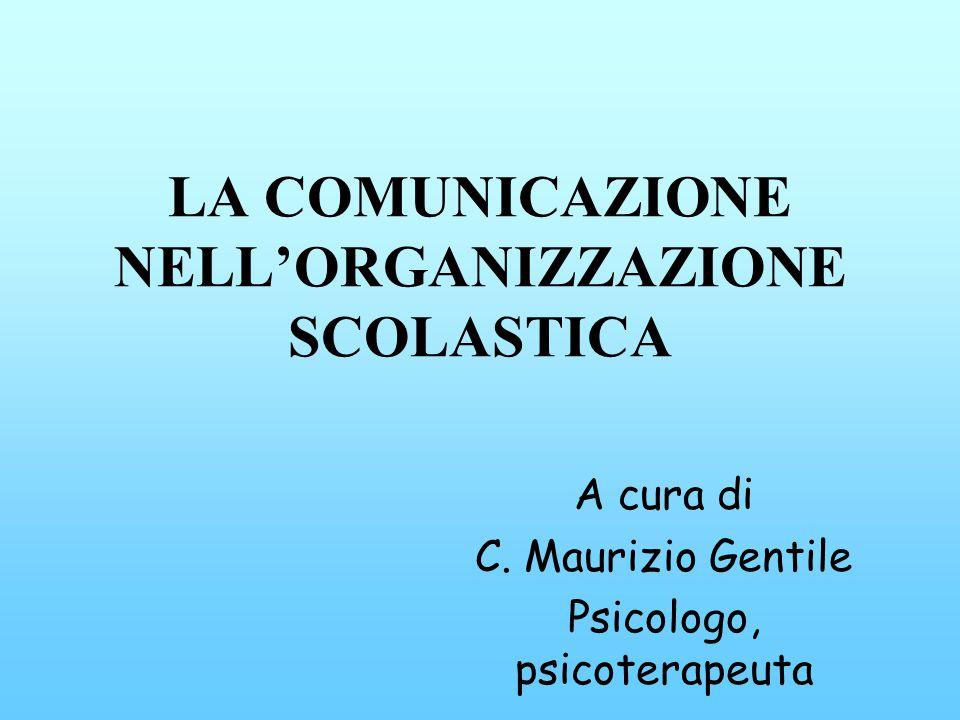 LA COMUNICAZIONE NELLORGANIZZAZIONE SCOLASTICA A cura di C. Maurizio Gentile Psicologo, psicoterapeuta