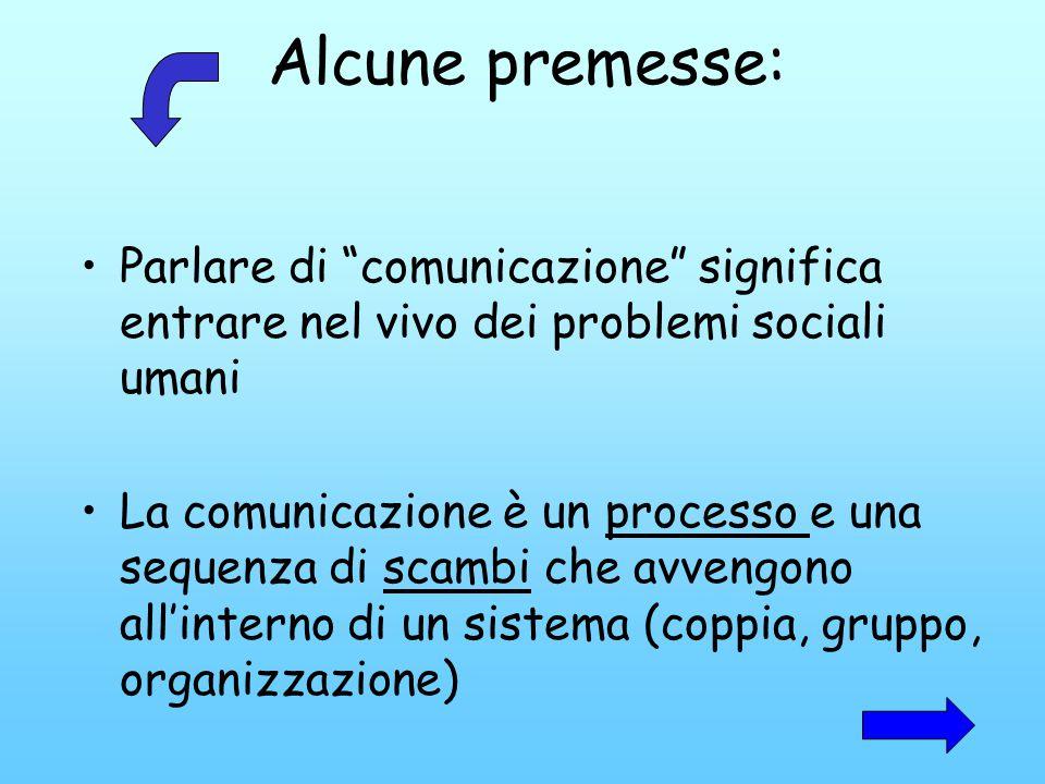 Alcune premesse: Parlare di comunicazione significa entrare nel vivo dei problemi sociali umani La comunicazione è un processo e una sequenza di scamb