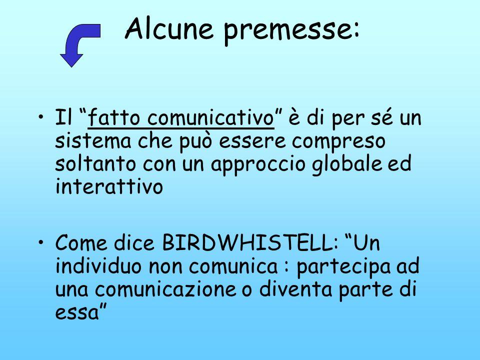 Alcune premesse: Il fatto comunicativo è di per sé un sistema che può essere compreso soltanto con un approccio globale ed interattivo Come dice BIRDW