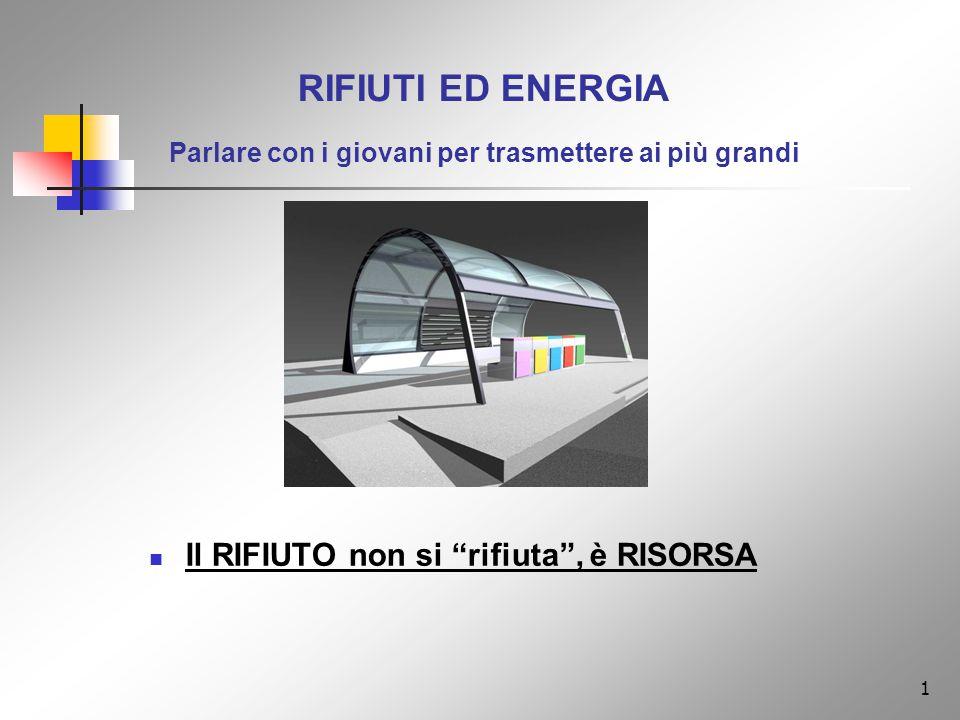 1 RIFIUTI ED ENERGIA Parlare con i giovani per trasmettere ai più grandi Il RIFIUTO non si rifiuta, è RISORSA