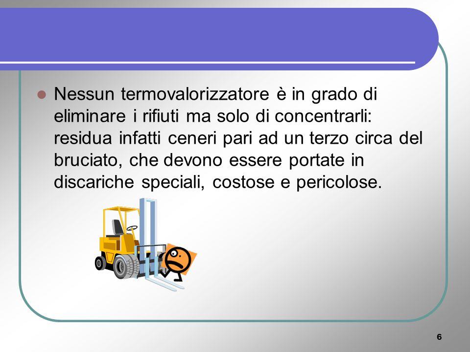 46 Il ricavo sulla vendita dei materiali raccolti: Organico30 %197.100 t10 / t1.971.000 Carta24 %157.680 t 50 / t 7.784.000 Stracci e legno20 %131.400 t 10 / t 1.314.000 Plastica13 %85.410 t130 / t11.103300 Vetro8 %52.560 t600 / t31.536.000 Metalli3 %19.710 t250 / t4.927.500 Alluminio1 %6.570 t900 / t5.913.000 Vari1 %6.570 t Totale materiali differenziati100 %657.000 t64.548.800