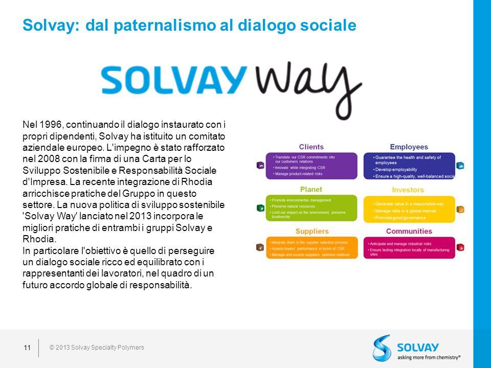 © 2013 Solvay Specialty Polymers 11 Solvay: dal paternalismo al dialogo sociale Nel 1996, continuando il dialogo instaurato con i propri dipendenti, Solvay ha istituito un comitato aziendale europeo.