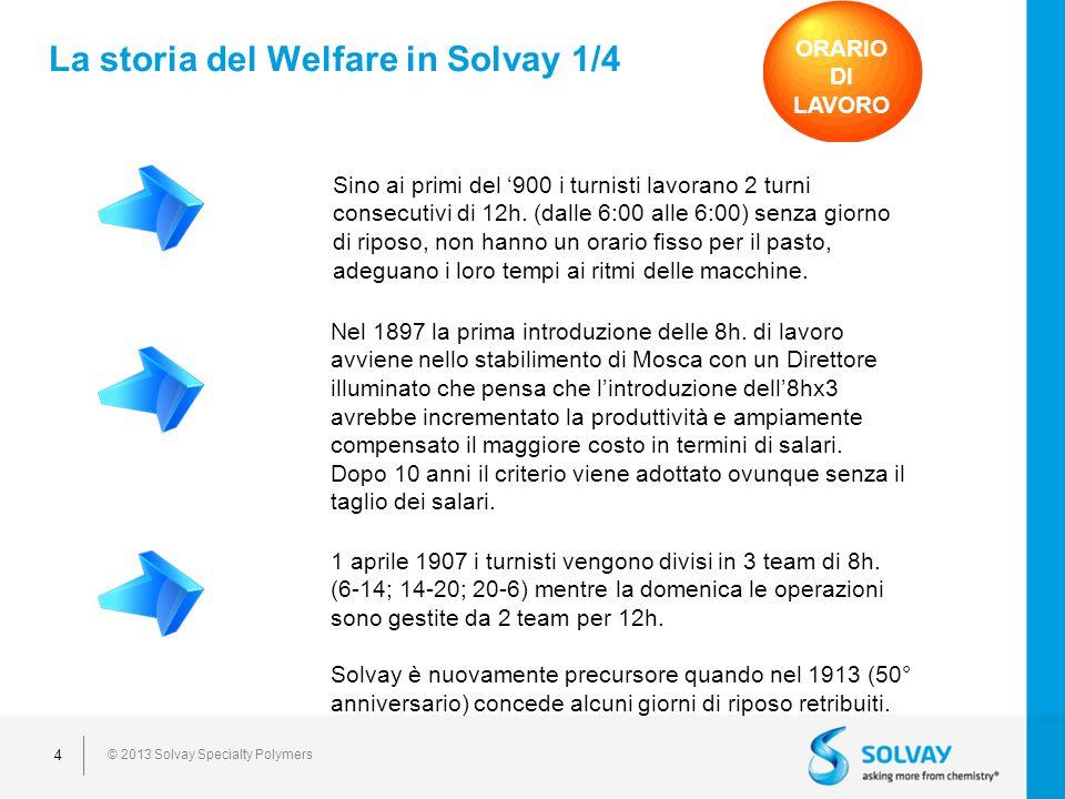© 2013 Solvay Specialty Polymers 4 Sino ai primi del 900 i turnisti lavorano 2 turni consecutivi di 12h.