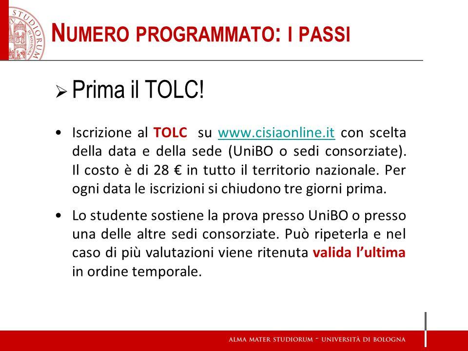 Iscrizione al TOLC su www.cisiaonline.it con scelta della data e della sede (UniBO o sedi consorziate). Il costo è di 28 in tutto il territorio nazion