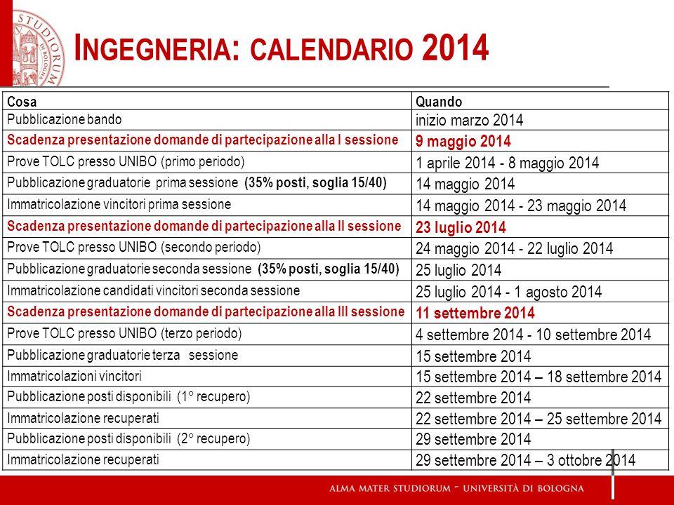 I NGEGNERIA : CALENDARIO 2014 CosaQuando Pubblicazione bando inizio marzo 2014 Scadenza presentazione domande di partecipazione alla I sessione 9 magg