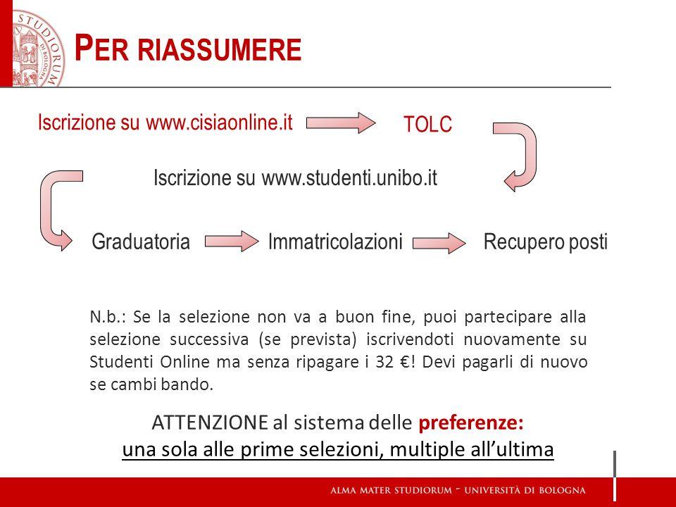 P ER RIASSUMERE Iscrizione su www.studenti.unibo.it GraduatoriaImmatricolazioni TOLC ATTENZIONE al sistema delle preferenze: una sola alle prime selez