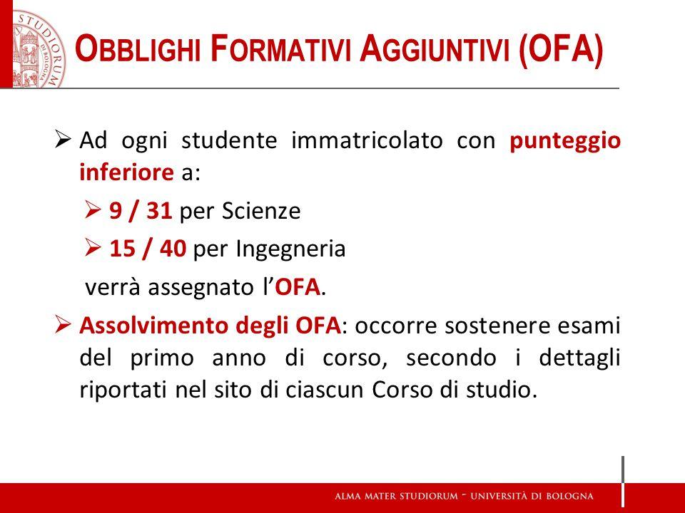 Ad ogni studente immatricolato con punteggio inferiore a: 9 / 31 per Scienze 15 / 40 per Ingegneria verrà assegnato lOFA. Assolvimento degli OFA: occo