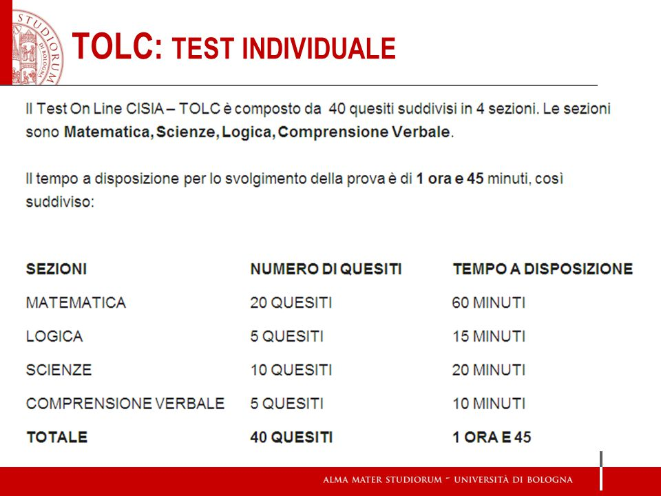 TOLC: TEST INDIVIDUALE