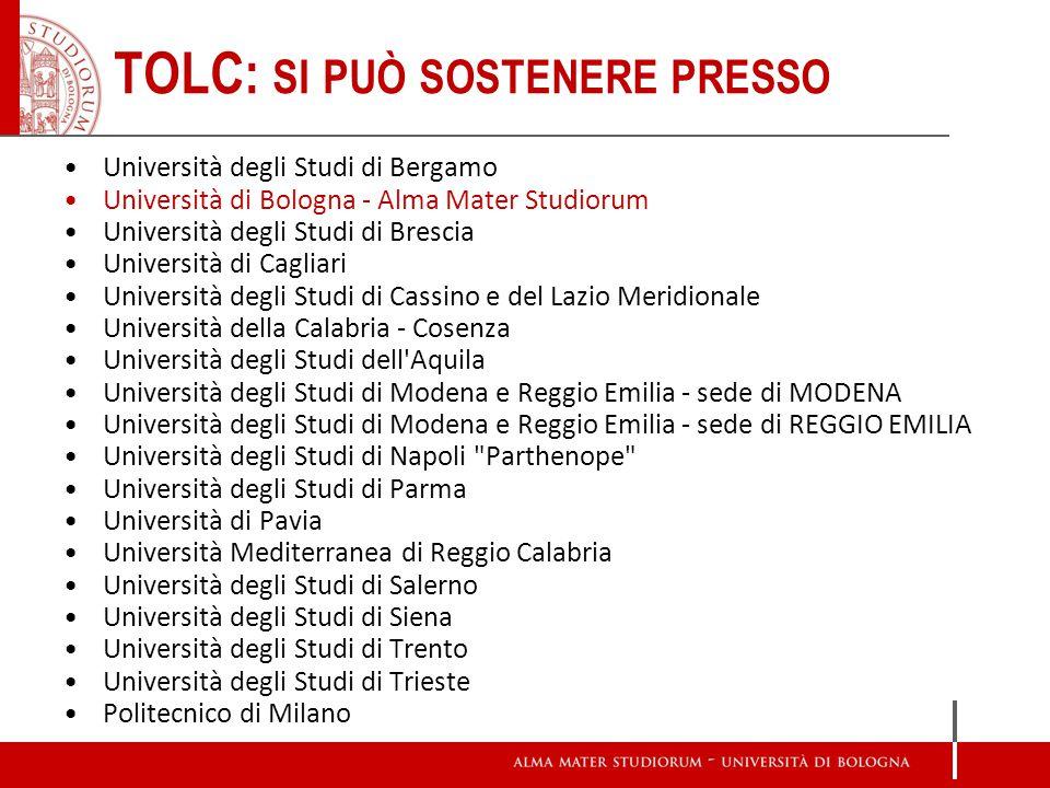 Università degli Studi di Bergamo Università di Bologna - Alma Mater Studiorum Università degli Studi di Brescia Università di Cagliari Università deg