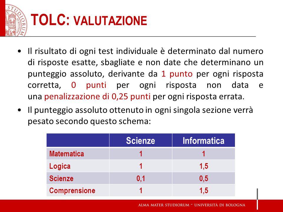 TOLC: VALUTAZIONE Il risultato di ogni test individuale è determinato dal numero di risposte esatte, sbagliate e non date che determinano un punteggio