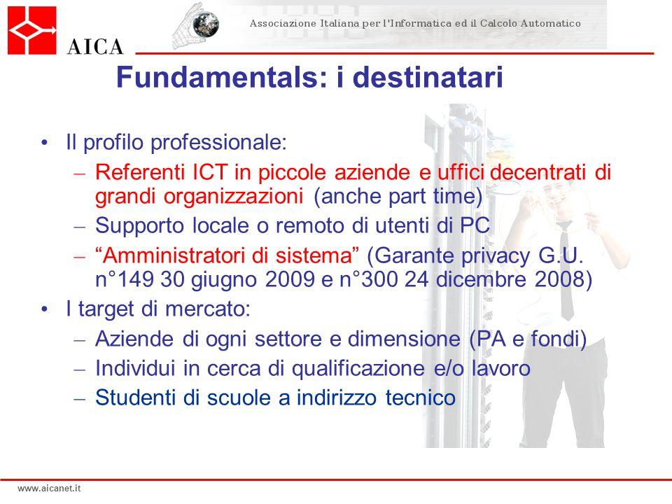 www.aicanet.it Fundamentals: i destinatari Il profilo professionale: – Referenti ICT in piccole aziende e uffici decentrati di grandi organizzazioni (