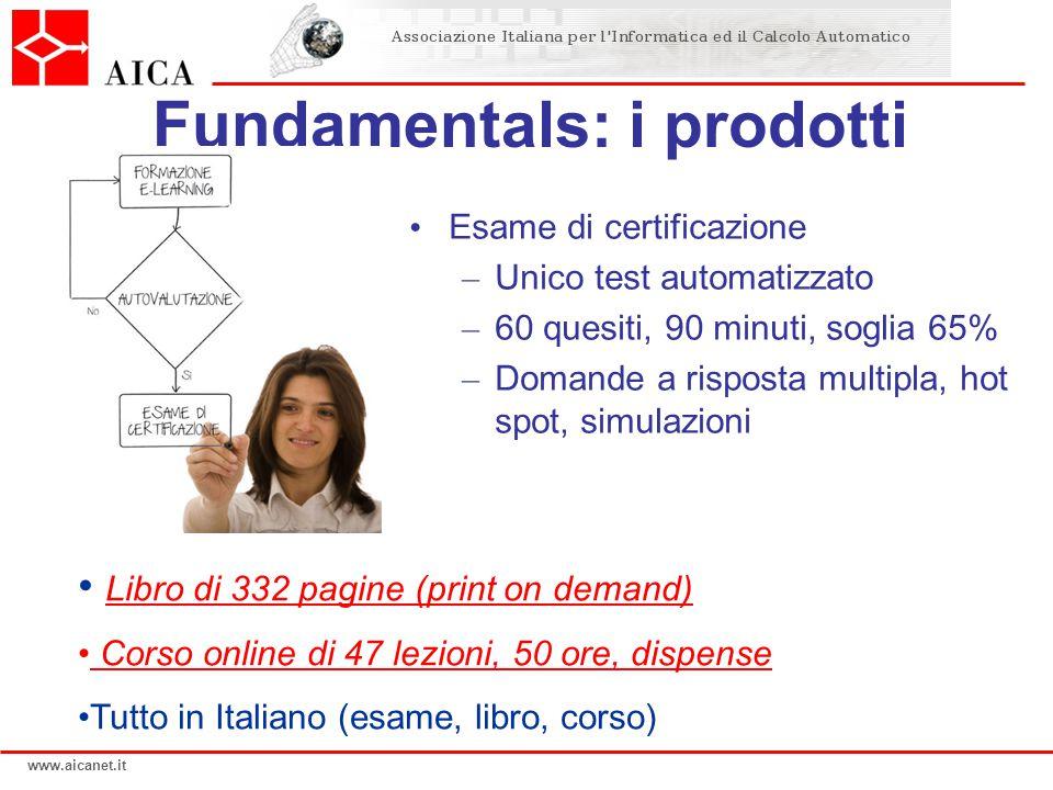 www.aicanet.it Fundamentals: i prodotti Esame di certificazione – Unico test automatizzato – 60 quesiti, 90 minuti, soglia 65% – Domande a risposta mu
