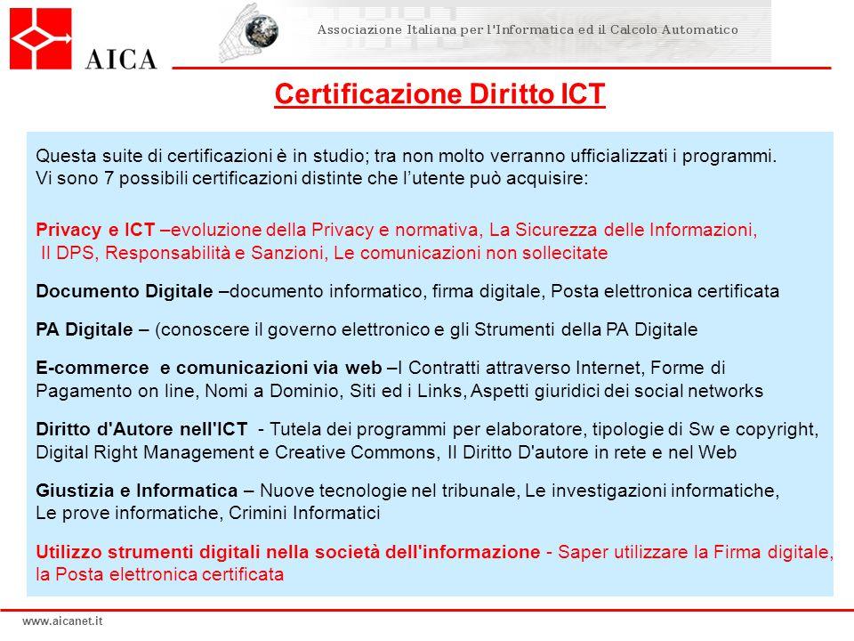 www.aicanet.it Questa suite di certificazioni è in studio; tra non molto verranno ufficializzati i programmi. Vi sono 7 possibili certificazioni disti