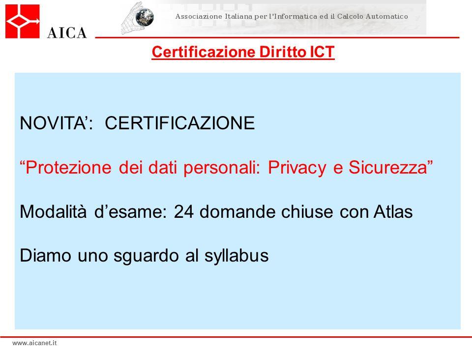 www.aicanet.it NOVITA: CERTIFICAZIONE Protezione dei dati personali: Privacy e Sicurezza Modalità desame: 24 domande chiuse con Atlas Diamo uno sguard