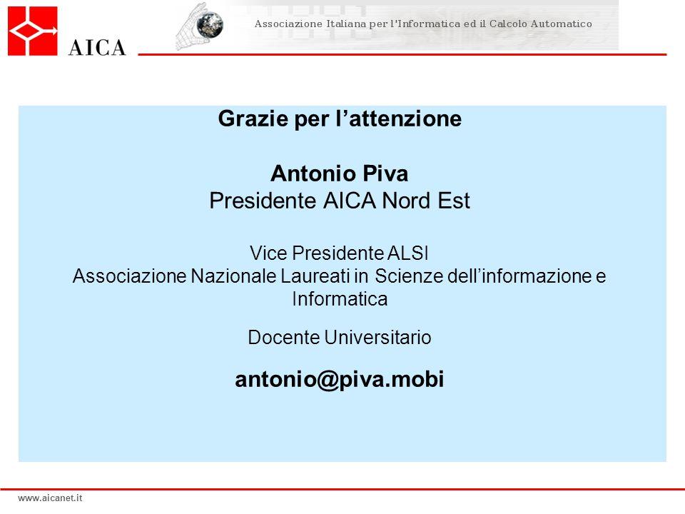 www.aicanet.it Grazie per lattenzione Antonio Piva Presidente AICA Nord Est Vice Presidente ALSI Associazione Nazionale Laureati in Scienze dellinform
