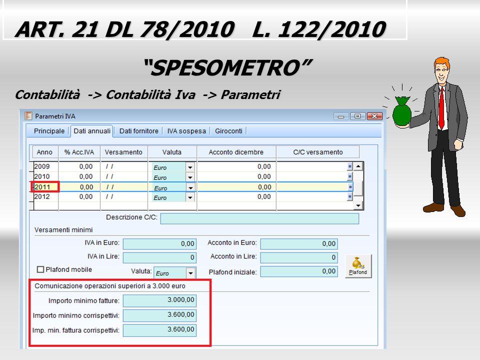 ART. 21 DL 78/2010 L. 122/2010 SPESOMETRO SPESOMETRO Contabilità -> Contabilità Iva -> Parametri