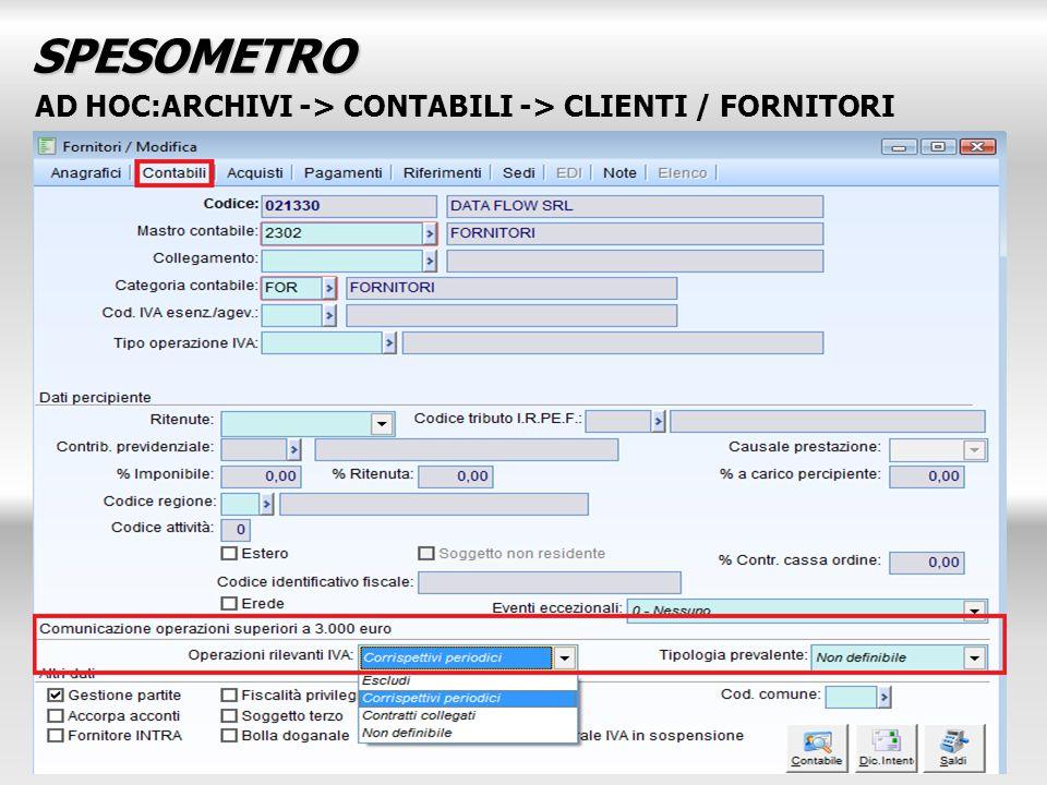 AD HOC:ARCHIVI -> CONTABILI -> CLIENTI / FORNITORI SPESOMETRO