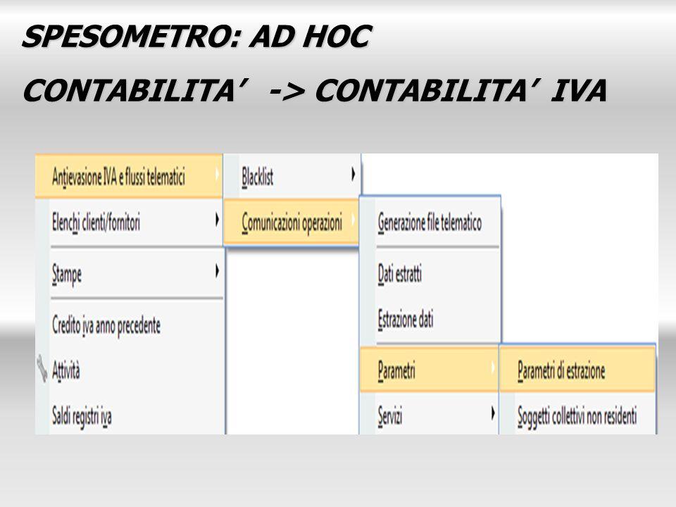 SPESOMETRO: AD HOC CONTABILITA -> CONTABILITA IVA