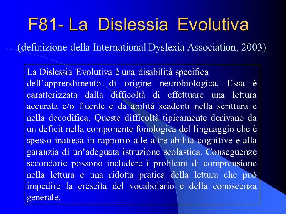 F81- La Dislessia Evolutiva ( definizione della International Dyslexia Association, 2003) La Dislessia Evolutiva è una disabilità specifica dellappren