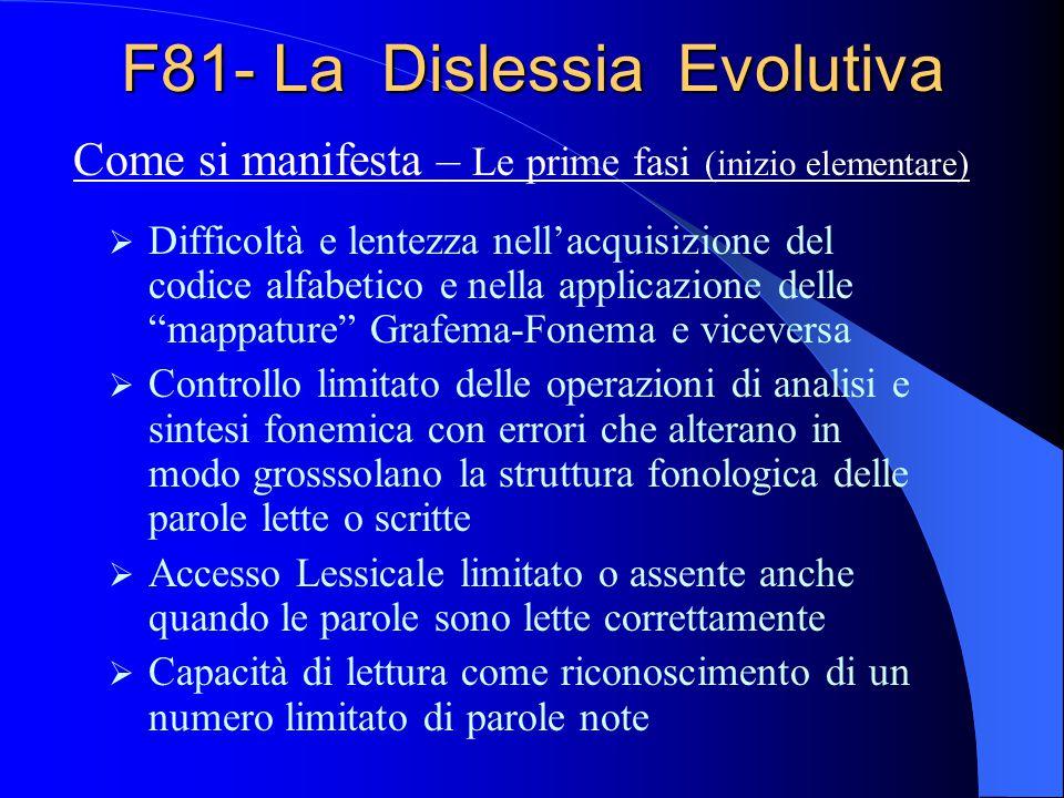F81- La Dislessia Evolutiva Difficoltà e lentezza nellacquisizione del codice alfabetico e nella applicazione delle mappature Grafema-Fonema e vicever