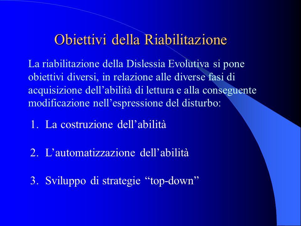 Obiettivi della Riabilitazione La riabilitazione della Dislessia Evolutiva si pone obiettivi diversi, in relazione alle diverse fasi di acquisizione d