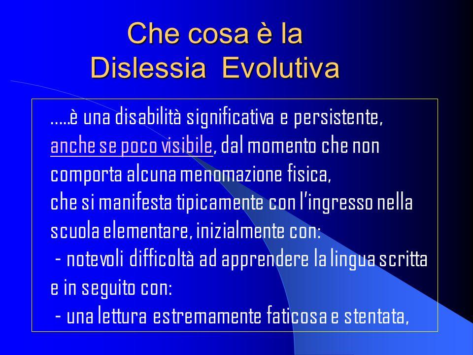Che cosa è la Dislessia Evolutiva..…è una disabilità significativa e persistente, anche se poco visibile, dal momento che non comporta alcuna menomazi