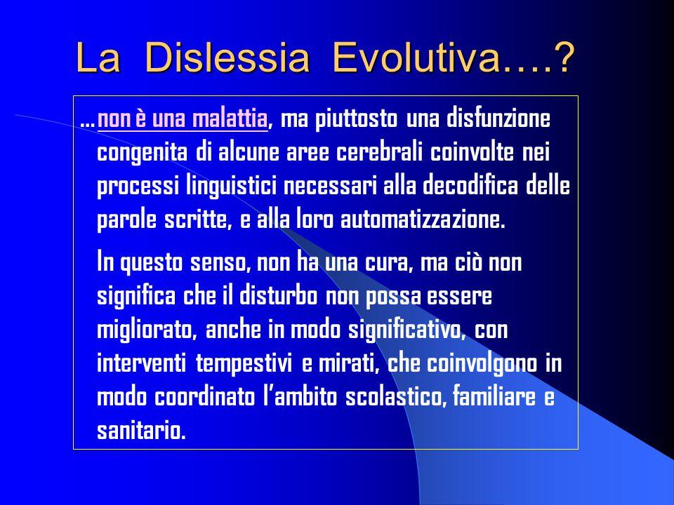La Dislessia Evolutiva….? …non è una malattia, ma piuttosto una disfunzione congenita di alcune aree cerebrali coinvolte nei processi linguistici nece