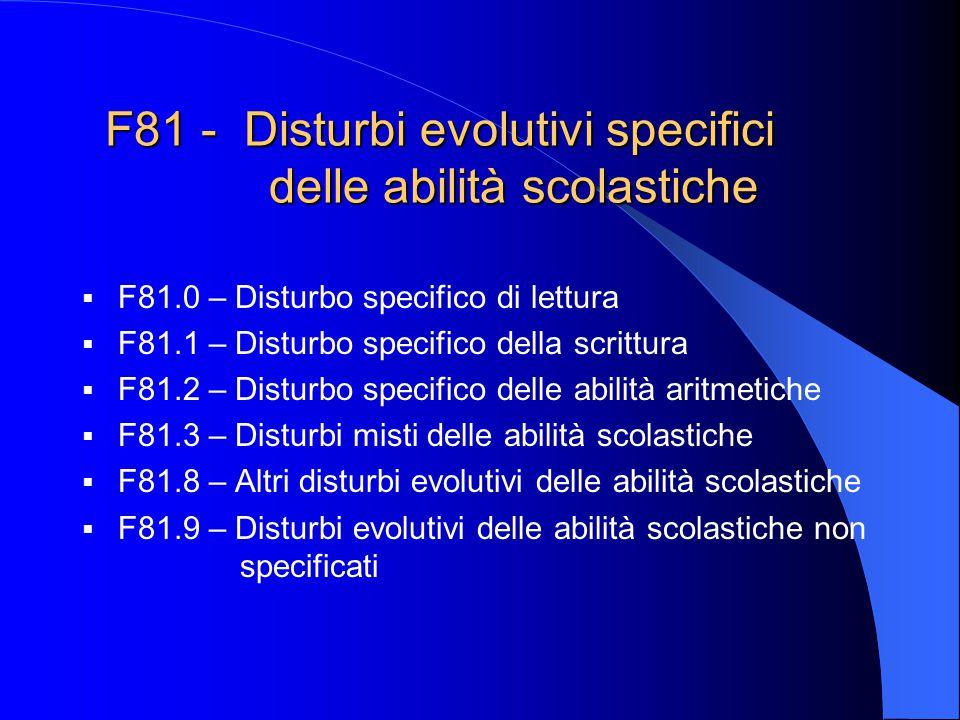 F81 - Disturbi evolutivi specifici delle abilità scolastiche F81.0 – Disturbo specifico di lettura F81.1 – Disturbo specifico della scrittura F81.2 –