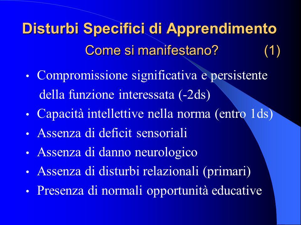 Disturbi Specifici di Apprendimento Come si manifestano? (1) Compromissione significativa e persistente della funzione interessata (-2ds) Capacità int