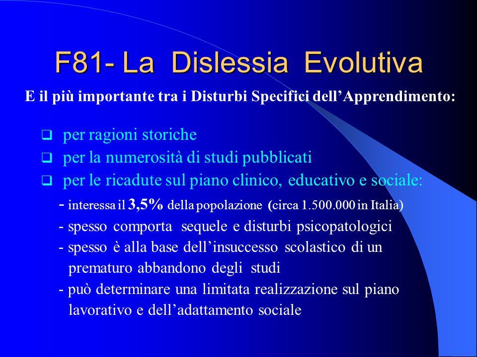 F81- La Dislessia Evolutiva per ragioni storiche per la numerosità di studi pubblicati per le ricadute sul piano clinico, educativo e sociale: - inter