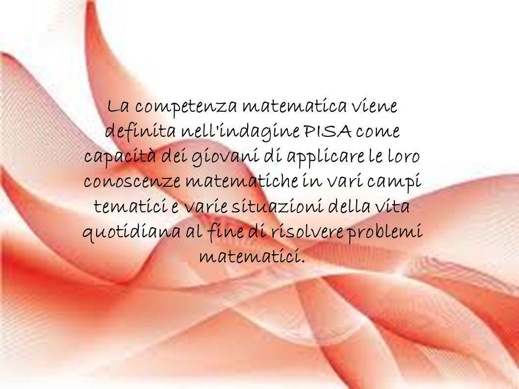 La competenza matematica viene definita nell'indagine PISA come capacità dei giovani di applicare le loro conoscenze matematiche in vari campi tematic