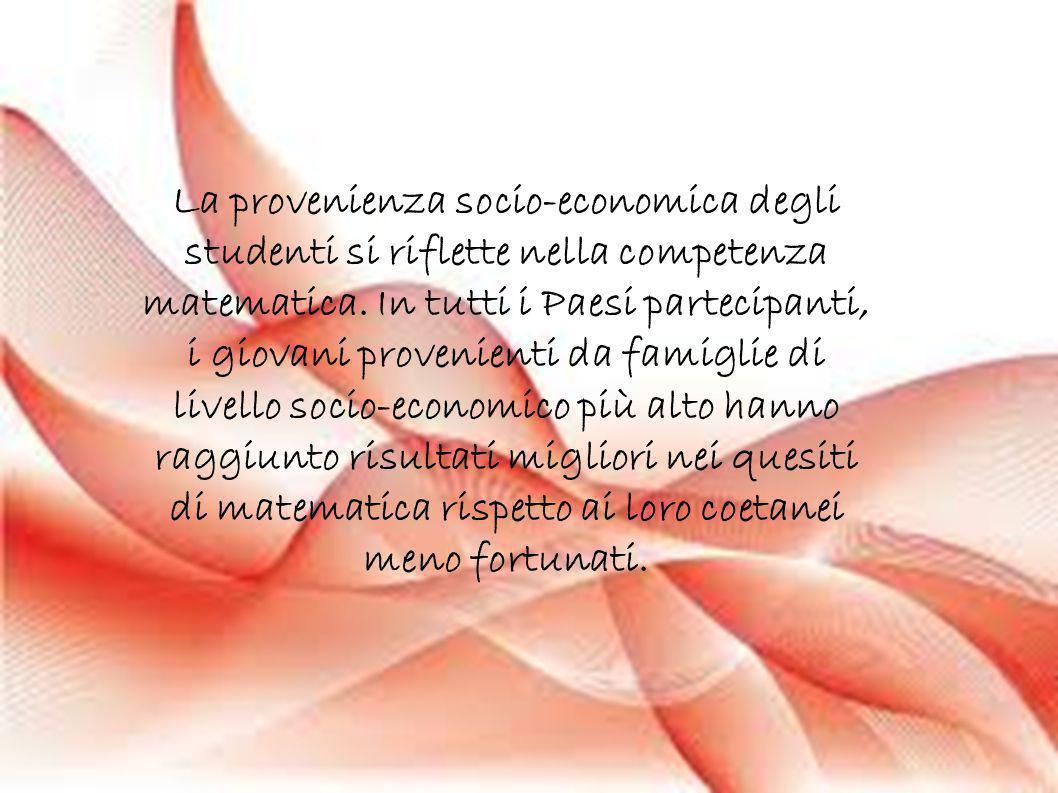 La provenienza socio-economica degli studenti si riflette nella competenza matematica. In tutti i Paesi partecipanti, i giovani provenienti da famigli