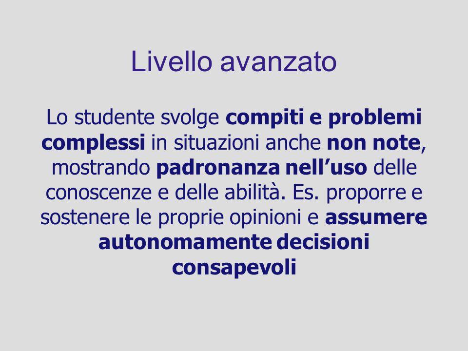 Livello avanzato Lo studente svolge compiti e problemi complessi in situazioni anche non note, mostrando padronanza nelluso delle conoscenze e delle a